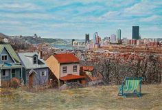 Fred Danziger, Southside Slopes (Pittsburgh), gouache on paper, 27 x British Soldier, Pittsburgh Pa, Best Cities, American Art, San Francisco Skyline, Pennsylvania, Buy Art, Places To Visit, Cabin