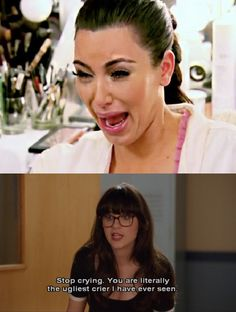 haha...new girl related-Jess/Zooey Deschanel,Kim Kardashian #funny #crying