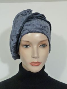 70b651a1b41 Fearlessly stylish high quality lagenlook anthracite grey crushed velvet  velour slouchy hat  beanie ( ideal
