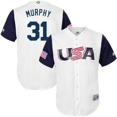 Men's Team USA Baseball Majestic #31 Daniel Murphy Gray 2017 World Baseball Classic Stitched Authentic Jersey