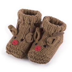totes Unisex Knitted Reindeer Slippers Reindeer