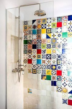 Colorful bathroom tile - Cool Colorful Bathroom Decor Ideas And Remodel for Summer Project – Colorful bathroom tile Bathroom Tile Designs, Bathroom Wall Decor, Bathroom Colors, Bathroom Interior Design, Colorful Bathroom, Bathroom Ideas, Shower Ideas, Funky Bathroom, Bathroom Renovations