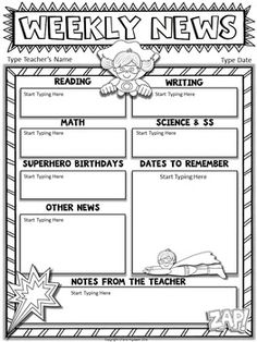 classroom newsletter template editable freebie teaching ideas