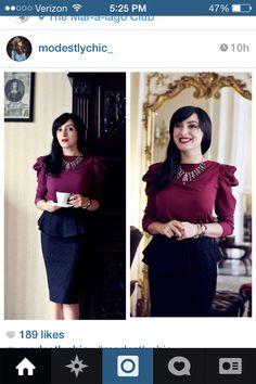 Modest fashion. Burgundy and black dress