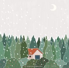 #jeju #jejuillust #snow #snowforest #forest #illust #moon #winter #제주 #일러스트 #풍경 #겨울 #눈오는날 #설경 #눈보라 #달 Jeju Island, Greenery, Motivational, Recycling, Abstract, Winter, Illustration, Artwork, Cards