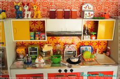 Oh my god, this amazing kitchen is made from ReMent miniatures!  I actually have some of these pieces!    Nicca's Modern Appliances  by Retro Mama69, via Flickr