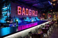 This is a special bar, club in Budapest, where all bartenders are girls and multiple times each night they demonstrate their bad girl powers and hop on the bar to put on a flair show for the people. Pub Design, Bar Interior Design, Lounge Design, Restaurant Design, Restaurant Bar, Sport Bar Design, Nightclub Design, Nightclub Bar, Hookah Lounge