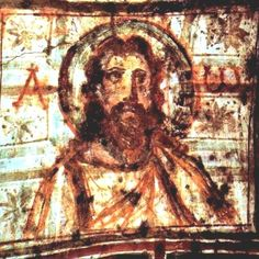 This is among the first images of a bearded Christ - late fourth or early fifth century AD. It is from the Catacomb of Commodilla, and the tomb belonged to Leo, an employee of the 'annona', a revenue and food supplies administration center