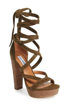 Free shipping and returns on Steve Madden 'Laceit' Platform Sandal (Women) at Nordstrom.com. A lofty stacked heel and platform amplify the retro vibe of a standout suede sandal topped with a wraparound ankle strap.