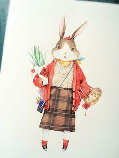 过了年就是春天了-那仁_兔子,手绘,水彩_涂鸦王国插画
