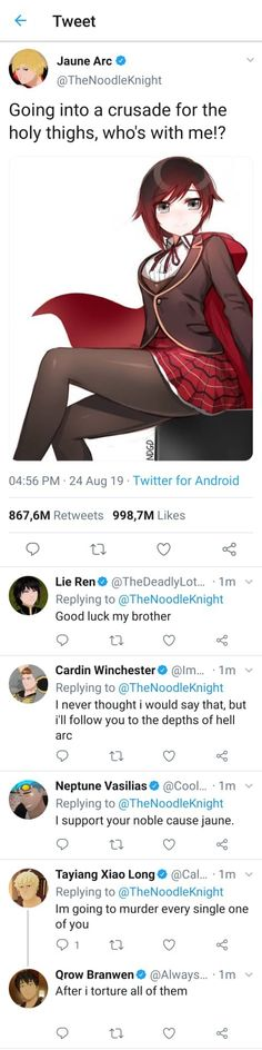 mm a crusade forme holy thighs, who's with mel? Rainbow Six Siege Memes, Rwby Memes, Rwby Comic, Rwby Fanart, Funny Memes About Girls, Thicc Anime, Derp, Popular Memes, Holi