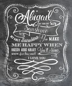 Customized Name Nursery Art - You Are My Sunshine - 11 x 14 Chalkboard Look Print - Girl or Boy Versions Pictured