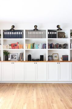 Our Built In Bookshelves is part of Ikea Living Room Bookshelves - All about how we DIY'd our built in bookshelves using IKEA cabinets Built In Shelves Living Room, Bookshelves Built In, Room Shelves, Ikea Living Room Storage, Ikea Office Storage, Ikea Office Hack, Ikea Billy Bookcase, Living Room Cabinets, Ikea Cabinets