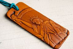 Statue of Liberty  Leather Keychain luggage tag or by MesaDreams, $18.00