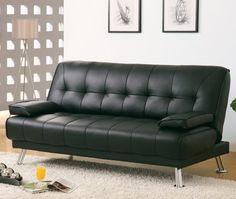 Monarch Specialties 9103 Click Clack Futon In Black Leather $530.41 (31% OFF)