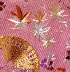 Golden Fan with Maple Leaves ~ Japanese Embroidery ~ Love it!