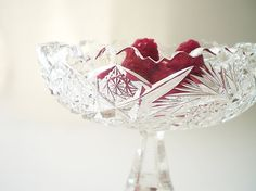Brilliant Cut Glass Compote Cut Crystal Candy by vintagebiffann