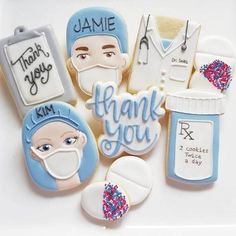 Doctor or Nurse Graduation, Get Well Soon, or as a Thank You to Medical Staff or Hospital. Custom Cookies by Jill. Thank You Cookies, Fancy Cookies, Iced Cookies, Custom Cookies, Cupcake Cookies, Sugar Cookies, Cupcakes, Kawaii Cookies, Cookie Frosting