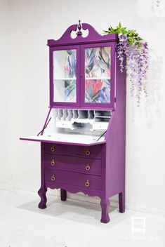Purple and Floral Vintage Secretary Desk with Hutch desk With Drawers Diy Garden Furniture, Trendy Furniture, Retro Furniture, Colorful Furniture, Paint Furniture, Repurposed Furniture, Shabby Chic Furniture, Furniture Makeover, Furniture Design
