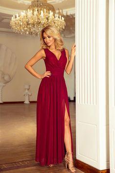 2b8d905644 Długa szyfonowa sukienka z rozcięciem bordowa    Długa suknia wieczorowa   długie suknie wieczorowe