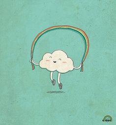arcoiris #illustration #cloud skipping a #rainbow cute kawaii illustration graphic art print