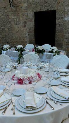 Centrotavola con Ortensie bianche e rosa