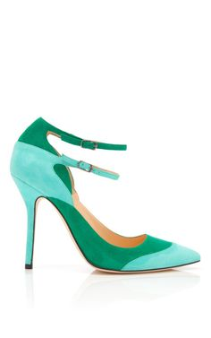 Shop Sisi Ankle Strap Suede Pumps by Oscar de la Renta Now Available on Moda Operandish
