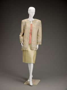 Late 1980s, America -Day ensemble by Mary McFadden - Silk, synthetic fibers, silk lame, paint, metallic threads