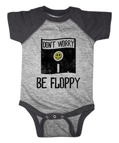 Look at this Heather Gray & Charcoal 'Don't Worry Be Floppy' Bodysuit - Infant on #zulily today!