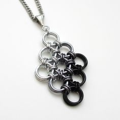 Black ombre Japanese diamond chainmaille pendant.                                                                                                                                                                                 More
