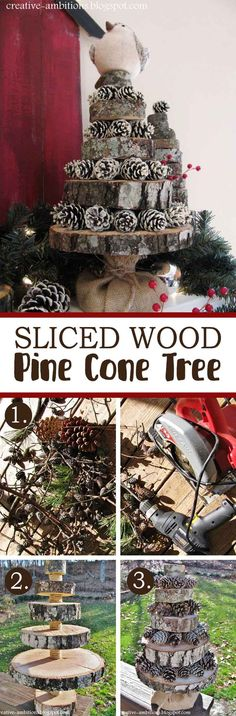 Sliced Wood Pine Cone Tree
