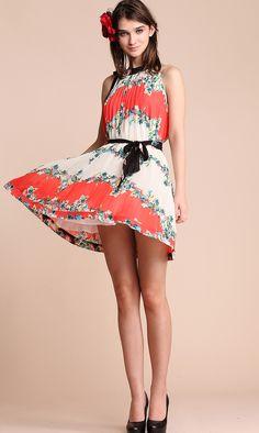 Red Sleeveless Floral Print Chiffon Belt Shift Boho Dress