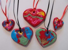 Salt Dough Heart Necklaces...for Mother's Day, Valentine's Day, or just to say I Love You!
