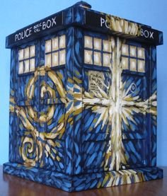This custom 6 Funko Pop! Tardis was inspired by the Exploding Tardis painting featured on the Doctor Who episode The Pandorica Opens. It has been fully