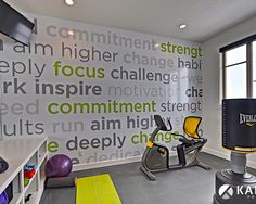 "70 Cool Home Gym Design Ideas - HomeDesignLove.Com. Love this wall....some ""thinspiration"""