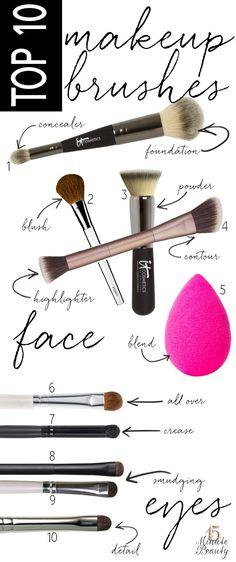 My 10 Best Makeup Brushes via 15MinuteBeauty.com