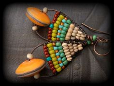 Rustic, Tribal,  Clay, Hand Woven, Lampwork Glass, Copper Beaded Earrings