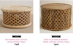Anthropologie Lattice Drum Coffee Table $798  vs  Cost Plus World Market Tribal Carved Coffee Table $300 | found by @Audrey Dyer