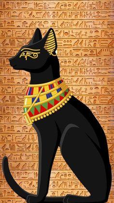 Egyptian Cat Goddess, Egyptian Cats, Egyptian Symbols, Bastet Goddess, Egyptian Anubis, Mayan Symbols, Egyptian Mythology, Viking Symbols, Viking Runes