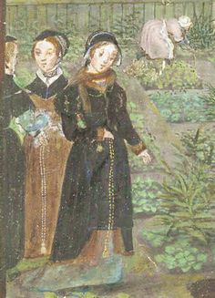 c1550 ladies wearing outdoor clothing of brown and black kirtles and fur-lined surcoats. Front lady wears a fur muffler.