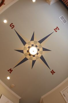 Compass ceiling for boys nautical nursery