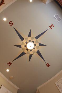 Compass ceiling for boys nautical nursery