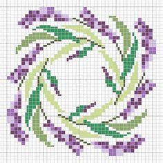 biscornu or ornament w swirl of purple flowers