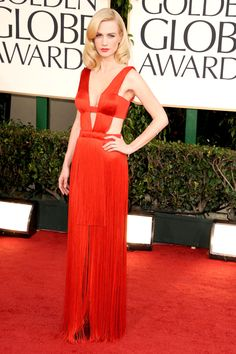 January Jones in Versace at The 2011 Golden Globes
