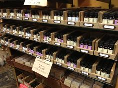 Simple inexpensive idea for merchandising fragrant oils. Looks just like the old library card system.