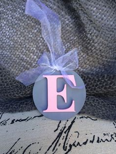 Pink and grey wooden letter initial for baby room by RaphasRoom