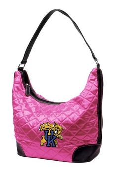 """NCAA Kentucky Wildcats Pink Quilted Hobo by Little Earth. $20.91. Littlearth's Quilted Collection is the perfect bag for the astute Sports Fan.  This Quilted Hobo measures 10"""" Length x 5"""" Width x 8.5"""" Height and has an 8.5"""" drop length faux leather handle.  This Hobo features rich satin-like quilting sure to catch the eye of passersby.  Displays embroidered appliqué of favorite team logo in bottom front right of bag.  Zipper closure at top of bag keeps belongings secure. ..."""
