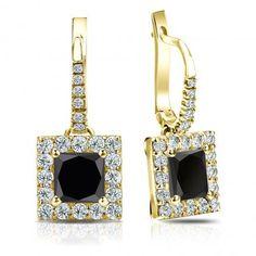 Certified 14k Yellow Gold Dangle Studs Halo Princess-Cut Black Diamond Stud Earrings 3.00 ct. tw.