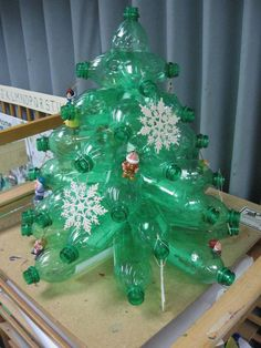 Plastic Bottle Christmas Tree by on DeviantArt Baby Christmas Crafts, Mickey Mouse Christmas Tree, Recycled Christmas Tree, Plastic Christmas Tree, Creative Christmas Trees, Xmas Tree, Fall Crafts, Diy And Crafts, Christmas Bulbs