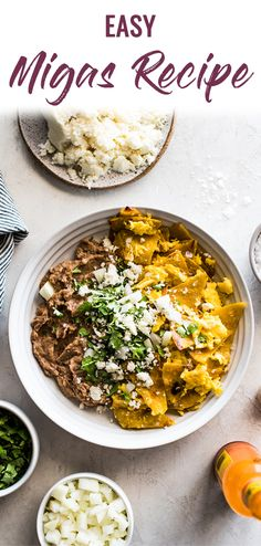 Made with crispy corn tortillas and scrambled eggs, this easy migas recipe is a quick mexican breakfast the whole family will love. Mexican Brunch, Mexican Menu, Mexican Breakfast Recipes, Eat Breakfast, Mexican Food Recipes, Vegetarian Recipes, Homemade Tortillas, Corn Tortillas, Vegan Recipes Videos